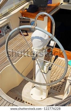Sailing boat helm at Marina of Ravenna - stock photo