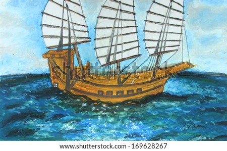 Sailing boat in the sea painting background