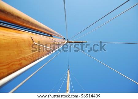 sailing boat mast - stock photo