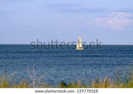 Sailing boat sailing on a lake Ontario, Canada