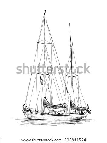 sailing boat sketch - stock photo