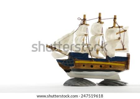 sailing boat toy - stock photo