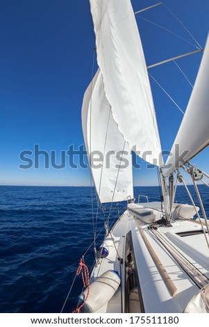 Sailing boat wide angle view in the sea  - stock photo