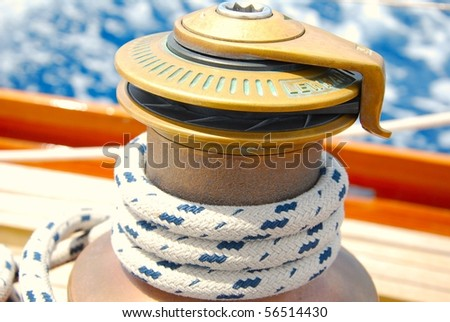 sailing boat winch - stock photo