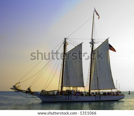 Sailing Boat with white sails on the ocean
