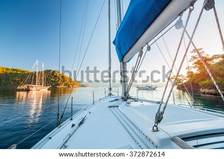 Sailing boats anchored in calm bay. Aegean Sea, Turkey - stock photo