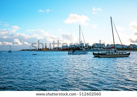 Sailing boats in the harbor from Portimao in Portugal