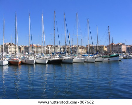 Sailing boats in the Vieux Port of Marseille (France)