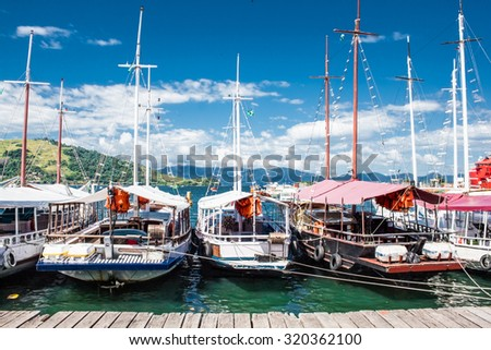 Sailing boats on port of Angra dos Reis city in state of Rio de Janeiro. Brazil. - stock photo