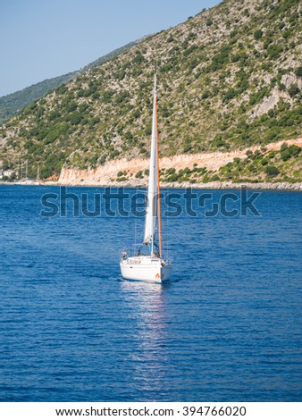 sailing boats with tourists visiting the beautiful island of Ithaca July 27 2015, Greece