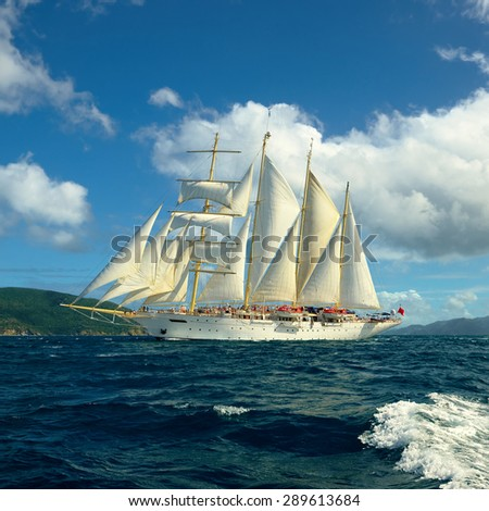 Sailing. Caribbean Islands - stock photo