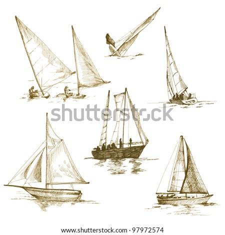 Vintage Sailboat Sketch Sailboat Drawin...