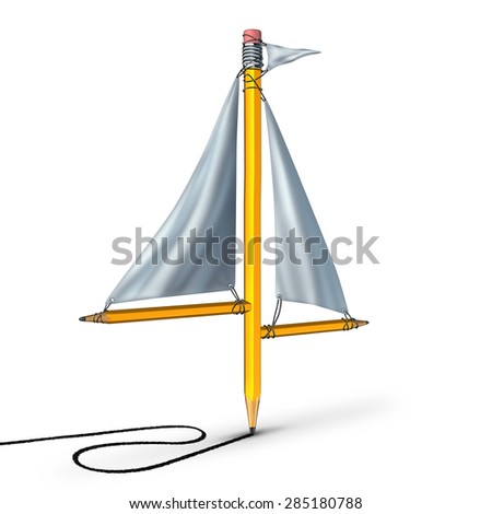 Sailing creativity metaphor as a group of pencils shaped as a boat sail representing the idea of adapting following the current trend and changing direction according to the winds of change. - stock photo