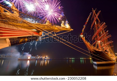 Sailing Festival. Fireworks. Series yachting and sailing - stock photo