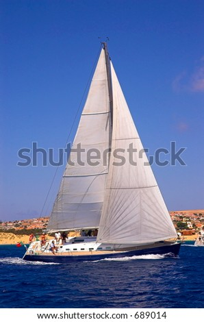 Sailing in a championship - stock photo