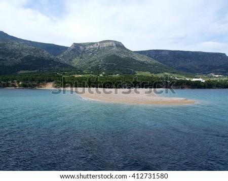 Sailing in Croatian during winter, Golden Cape beach on Brac island - stock photo