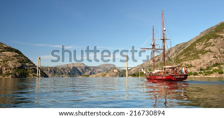 Sailing in Norway. Series of ships and yachts - stock photo