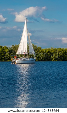 Sailing in Southwest Florida in winter. - stock photo