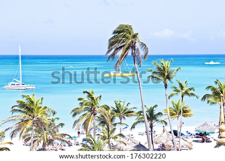 Sailing in the blue caribbic sea - stock photo