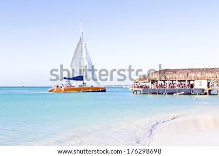 Sailing in the blue caribic sea - stock photo