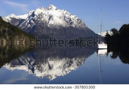 Sailing in the Nahuel Huapi National Park, Bariloche, Patagonia, Argentina - stock photo