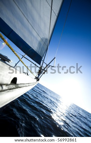 Sailing in the open sea - stock photo
