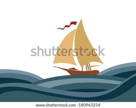 Sailing in the sea - stock photo