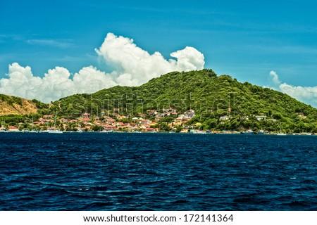 Sailing into Les Saintes in Guaduloup - stock photo