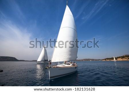 Sailing. Luxury Yachts. - stock photo