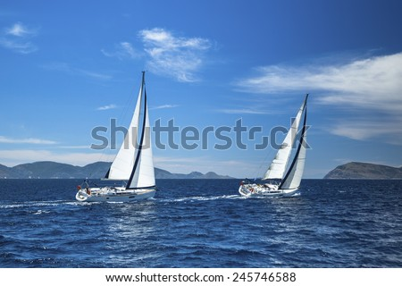Sailing. Luxury yachts. Boat in sailing regatta.  - stock photo