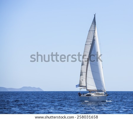 Sailing. Luxury Yachts. Yachting in the Mediterranean Sea. - stock photo