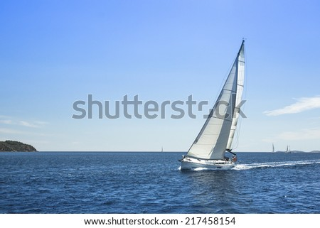 Sailing on a calm sea. Trip at luxury yacht (with space for text) - stock photo