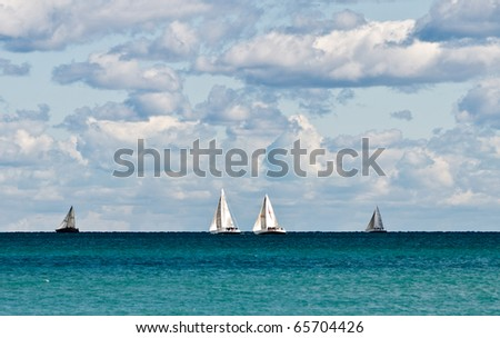 Sailing on the Great Lakes - stock photo