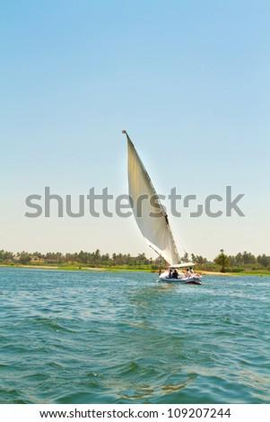 Sailing on the Nile River. Nile river - stock photo