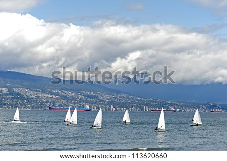 Sailing on the sea by Vancouver, British Columbia, Canada - stock photo