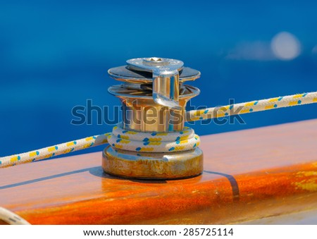 sailing parts of a classic wooden Greek sailing boat - stock photo