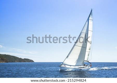 Sailing, racing yachts on the high seas. Luxury yachts. - stock photo
