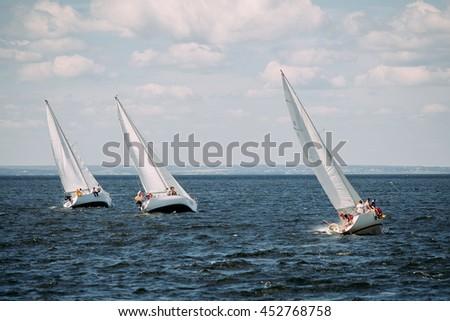 sailing regatta boats - stock photo