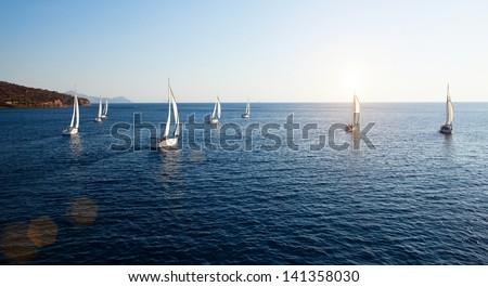 Sailing regatta, panorama - stock photo