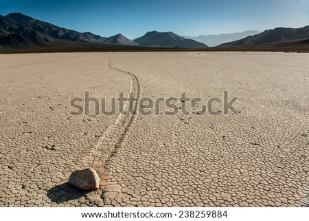 Sailing rocks of Racetrack Playa. - stock photo
