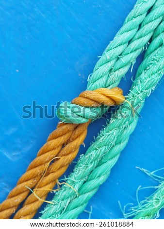 Sailing ropes close up - stock photo