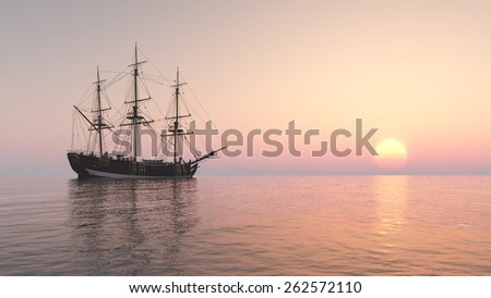 Sailing ship at anchor Computer generated 3D illustration - stock photo