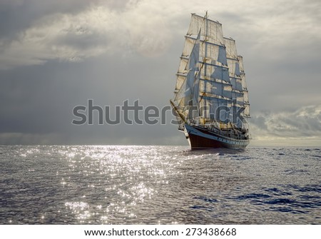 Sailing ship before the storm. Collection best yachts and ships - stock photo