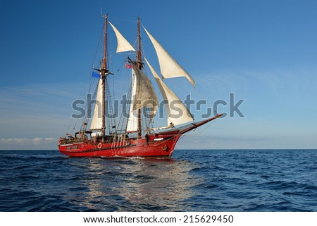 Sailing ship. Collection of yachts and ships - stock photo