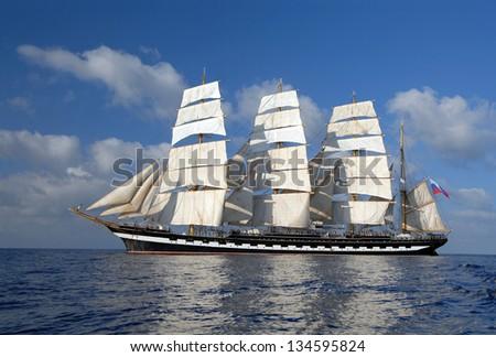 Sailing ship. Cruise sailing - stock photo