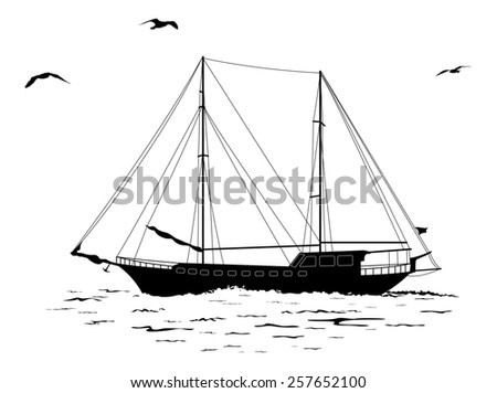 Sailing ship floating in the sea, the birds fly in the sky, black silhouettes and contours isolated on white background.  - stock photo