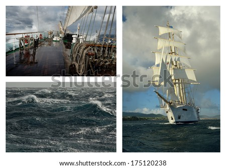 Sailing ship in a storm - stock photo