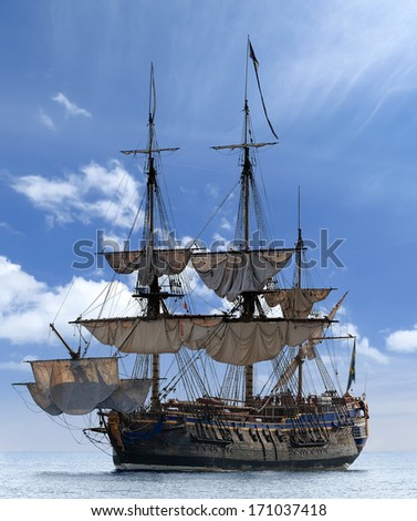 Sailing ship in Baltic Sea, Sweden - Scandinavia. Image assembled from few frames