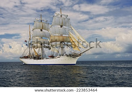 Sailing ship in the beautiful sea and sky. Collection ships and yachts