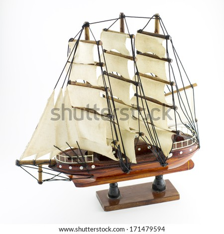 sailing ship model isolated on white background - stock photo